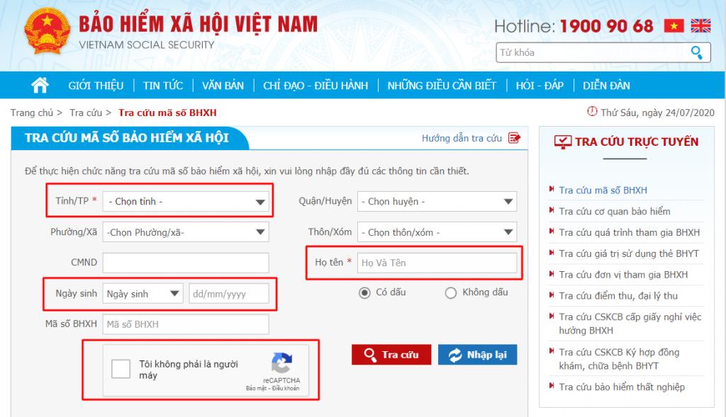 Giao diện cổng tra cứu thông tin của BHXH Việt Nam