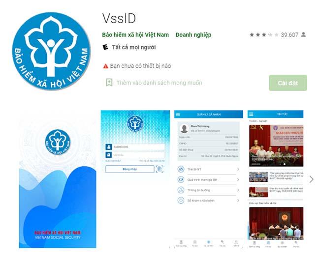 Ứng dụng VssID tại giao diện CH Play.